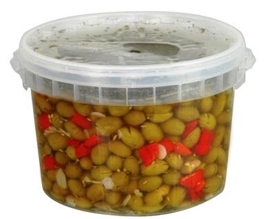 OLIVES VERTES ASSAISONNÉES AROMATISÉES 3.5 kg